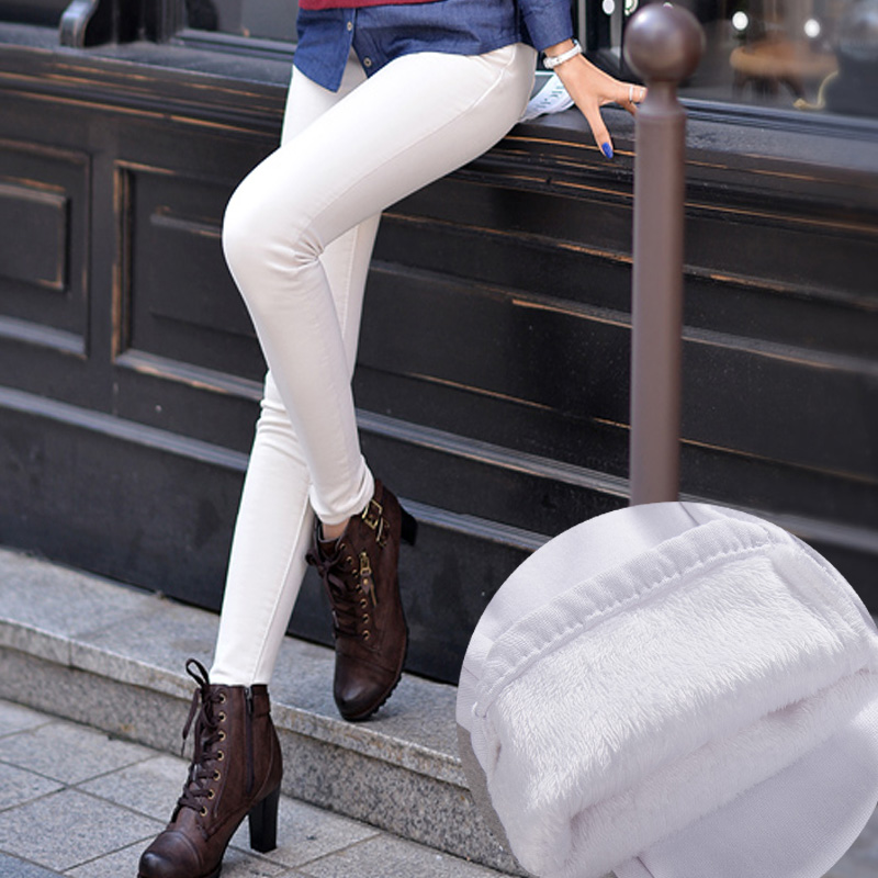 Womens clothing fashion plus thick velvet jeans Slim winter white pencil pants elastic big yards trousersОдежда и ак�е��уары<br><br><br>Aliexpress