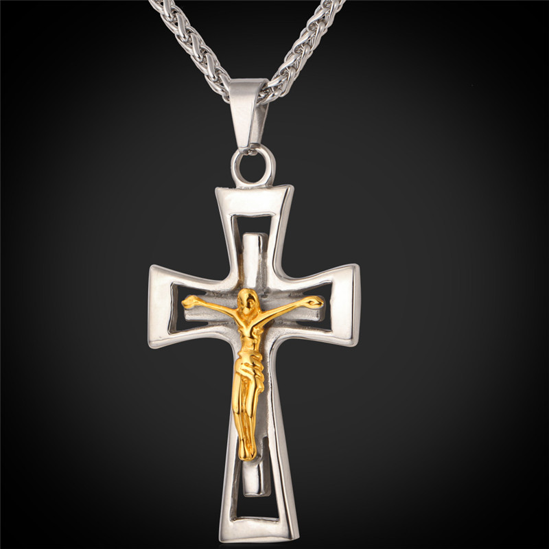 Crucifix Cross Necklace 316L Stainless Steel Trendy 18K Real Gold Plated Cross Pendant Necklace Men Jewelry Wholesale IGP875(China (Mainland))