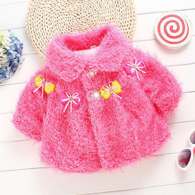 Уютный младенческая малыш сгущает мыса плащ пончо новорожденных девочек зимнее пальто 0 - 12 м QL