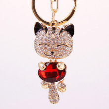 Crystal Rhinestone Metal Cat Keychain Novelty Souvenir Gifts Couple Key Chain Key Ring Hangbag Charms Pendant Chaveiros Carro