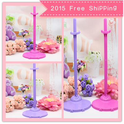 2015 Free shipping 10pcs/lot 2 colors mixed Doll Stand Display Holder For Barbie Dolls/Monster High dolls(China (Mainland))