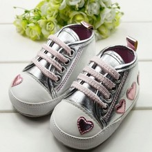 Cute Kid Toddler Baby Girl Silver Crib Heart Soft Shoes First Walker 0 18 M