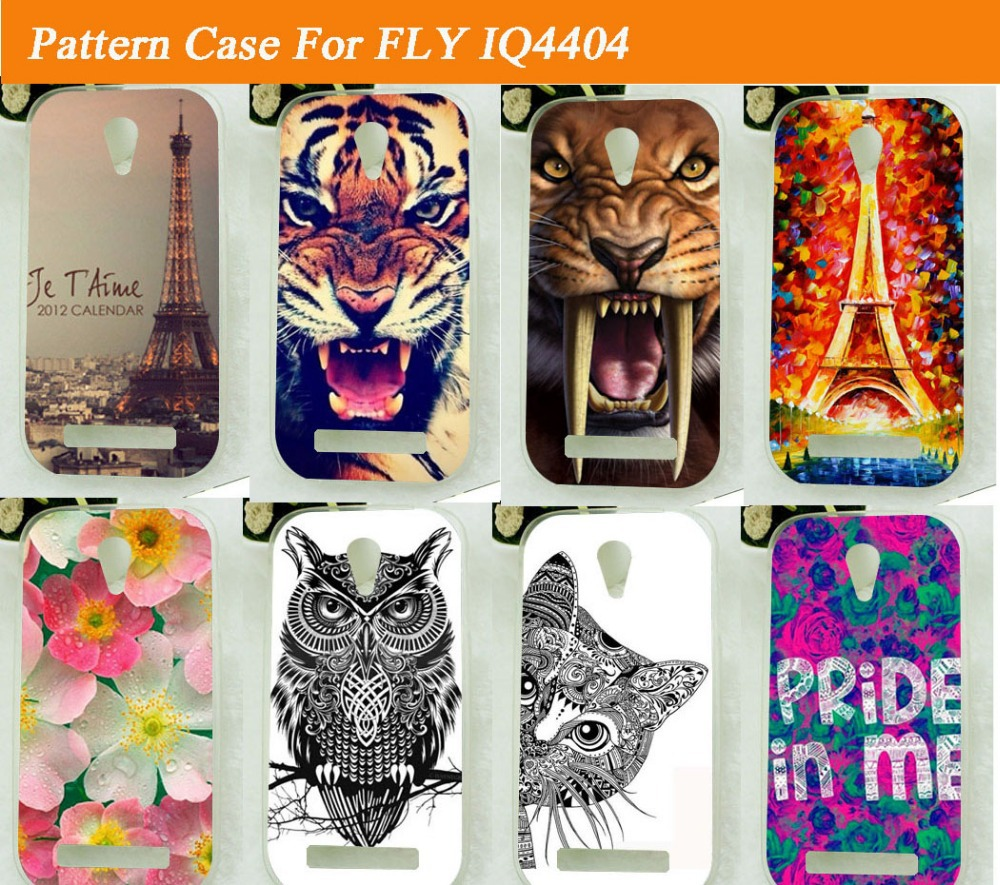 fashion diy 3d painted colored tiger lion bear flowers tower design skin sheer soft tpu case cover for Fly IQ4404 back cover(China (Mainland))
