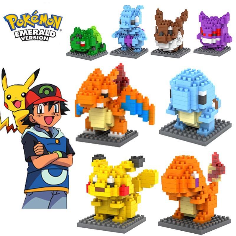 Гаджет  Pokemon Figures Model Toys Pikachu Charmander Bulbasaur Squirtle Mewtwochild Eevee Child Christmas gift 9+ Anime Building Blocks None Игрушки и Хобби