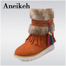 Tamaño 33-43 Moda Negro Tobillo Botas de Mujer de Zapatos de Cuentas Plana Felpa Faux Suede Borla de la Mujer Botas de Invierno Cálido Botas para la nieve(China (Mainland))