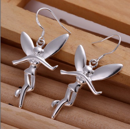 Silver jewelry angel Drop earrings fashion beautiful Christmas gift for a woman factory cheap wholesaleTop quality(China (Mainland))