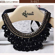Fashion Crystal Beads Charm Choker Necklace Popular Bead Braid rope necklace leaf blue rhinestone Necklace bib statement pendent(China (Mainland))