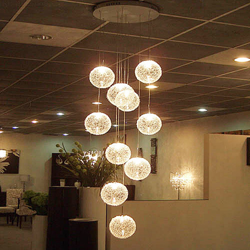Modern large long stair e14 round ball chandeliers 10 for Suspension luminaire ronde