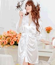 Good Sexy Lingerie Hot Underwear Set Faux Silk Lace Work Sleepwear Bathrobe Bath Robe Nightgown for Women 4 Colors Free Shipping(China (Mainland))