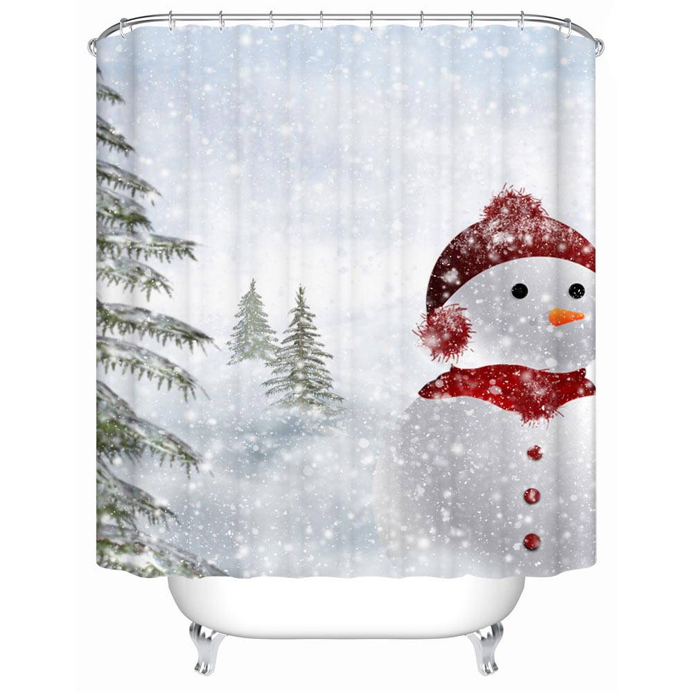 A Red Hat and Scarf Snowman Eco-Friendly Bathroom Products Accessories Waterproof Shower Curtains Bathroom Curtain Y-168(China (Mainland))