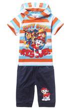 2016 summer boys clothes; Puppy Patrol girls clothes set;  shorts + short sleeve T shirts kids sport suit; children clothing set(China (Mainland))