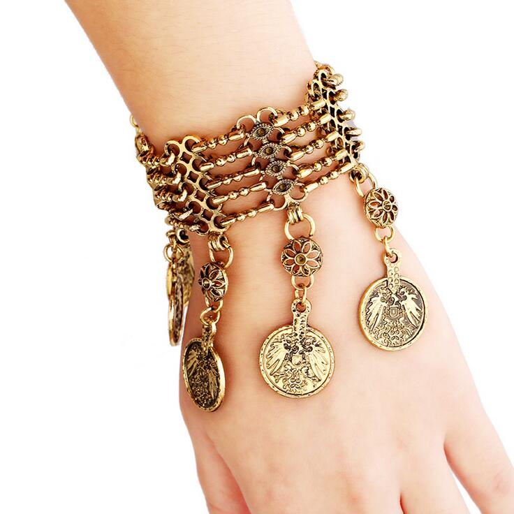Free shipping Min.Order $10( Can mix order)! fashion punk selling well jewelry,coin pendants tassel bracelet Wholesale(China (Mainland))