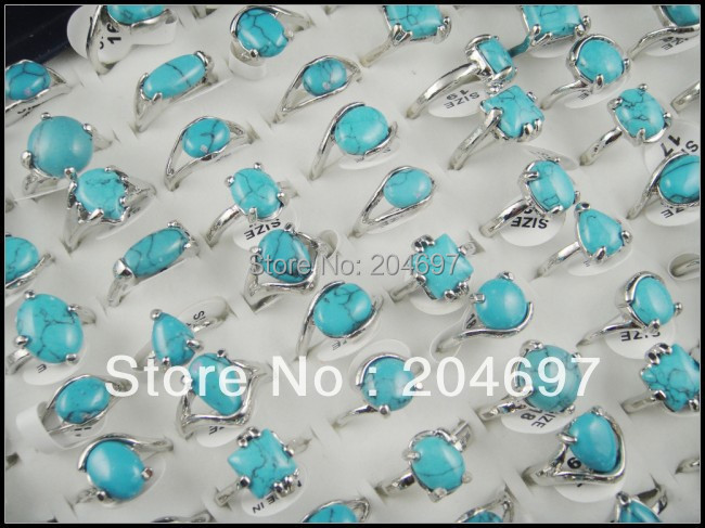 Mix 50pcs Natural Turquoise Stone Alloy Rings Fashion Exquisite Lady's Ring Wholesale Lots Free Shipping