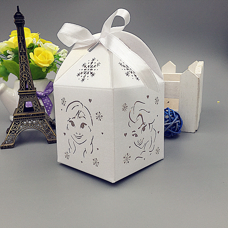 big Frozen birthday party decorations kids candy box,Laser cut Frozen wedding box,wedding favors and gifts,baby shower gifts box(China (Mainland))
