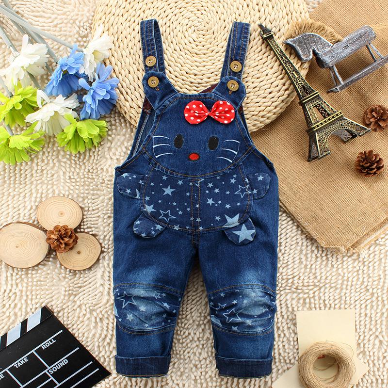 2015 new arrival infant jeans pant baby cartoon denim pant cat design(China (Mainland))