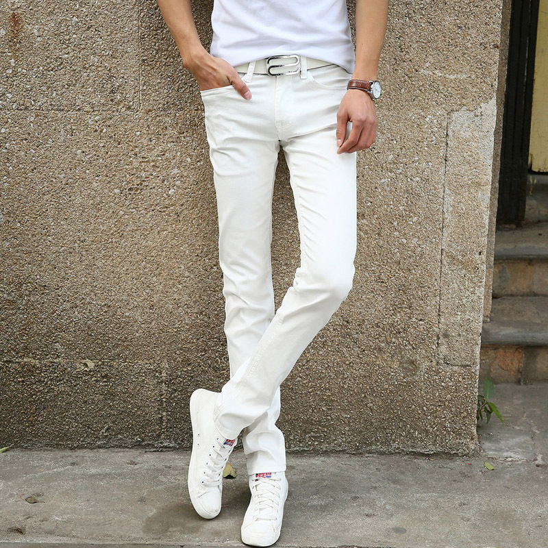 Men's jeans 2015 new fashion solid color stretch skinny jeans Feet pants Male casual trousers male pants Tights