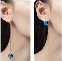 (4 pairs/lot) Korean Style 925 Sterling Silver Earring Heart Of Ocean Blue Crystal Love Tassel Drop Earring Jewelry For Hot Sale(China (Mainland))