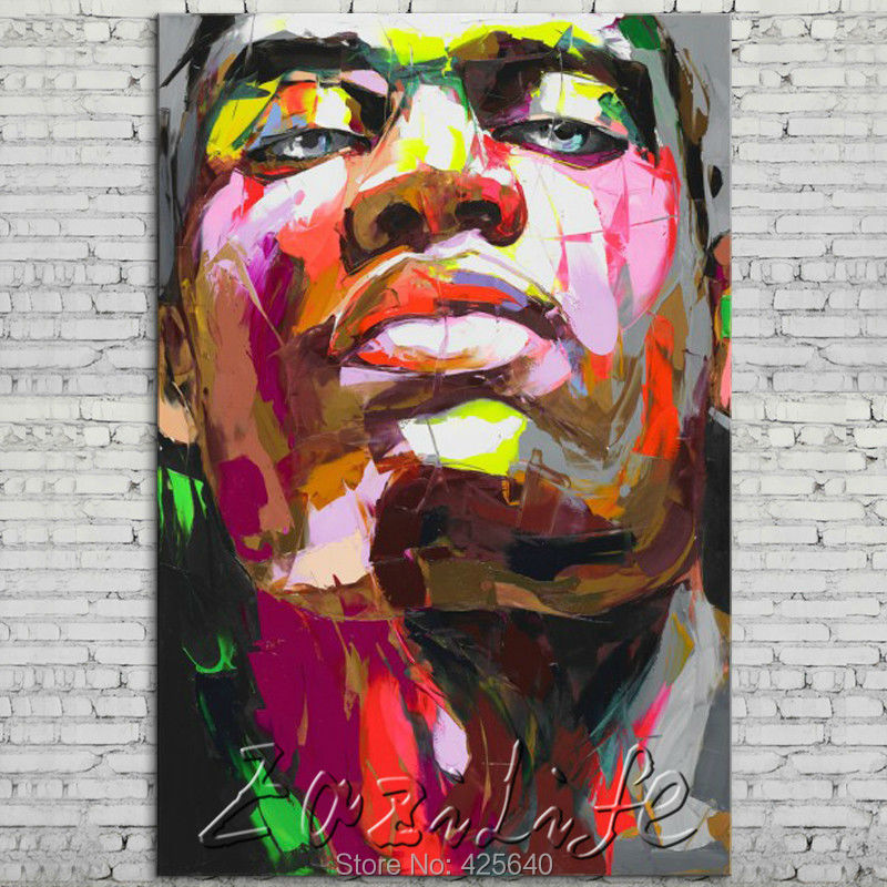 Buy Palette knife portrait Face Oil painting Character figure canvas Hand painted Francoise Nielly wall Art picture 72 cheap