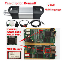 Best for Renault CAN CLIP Full Chip Golden PCB Board V165 CYPRESS AN2136SC Chip for Renault Clip New Japan NEC Relays(China (Mainland))