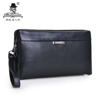 High Quality 2015 Vintage Business Hand Bag Men Clutch Bags Long Genuine Leather Wallet Luxury Brand Male Wallets with Wristlet