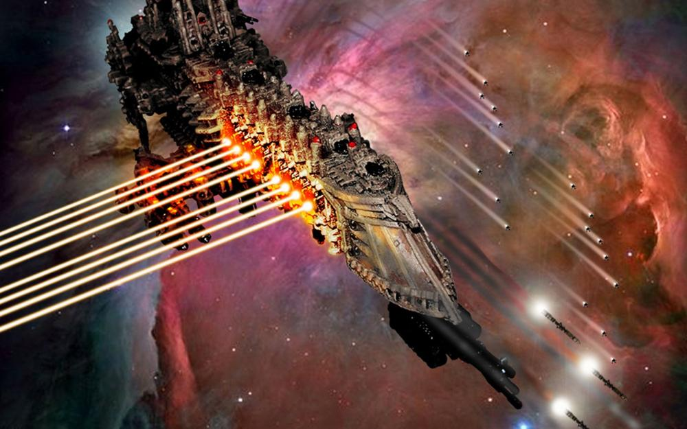 Gothic Space Battle Warhammer 40k spaceship laser weapons missile 4-Size Home Decoration Canvas Poster Print