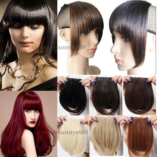 Pretty Girls lady Clip On Clip In Front Hair Bang Fringe Hair Extension Straight Black Brown Blonde USA FAST FREE SHIPPING(China (Mainland))