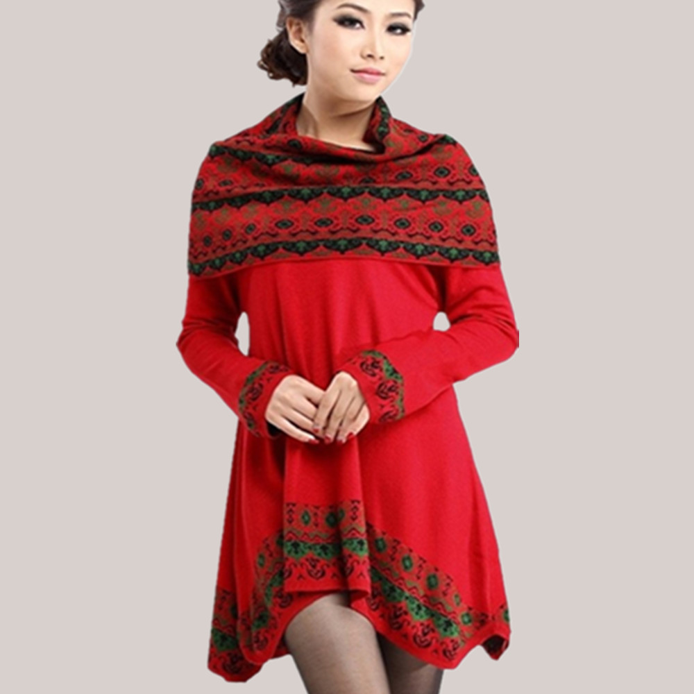 National style New 2014 Autumn Winters Low round Collar Bigger sizes Giving a scarf Irregular Sweater Knit dress Joker(China (Mainland))