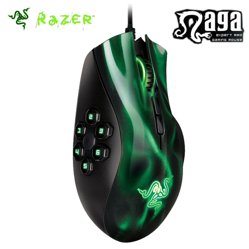 Razer Naga Hex MOBA PC Gaming Mouse 5600dpi Mouse Razer Precision 3.5G Laser Sensor 10 Million Click Life Cycle Green/Red(China (Mainland))