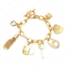 Hot Famous Brand Jewelry Rasta Punk Rock Charm Bracelets For Women Letter Kors Lock Key Pendant Chain Bracelets Bangle Gold Gift(China (Mainland))