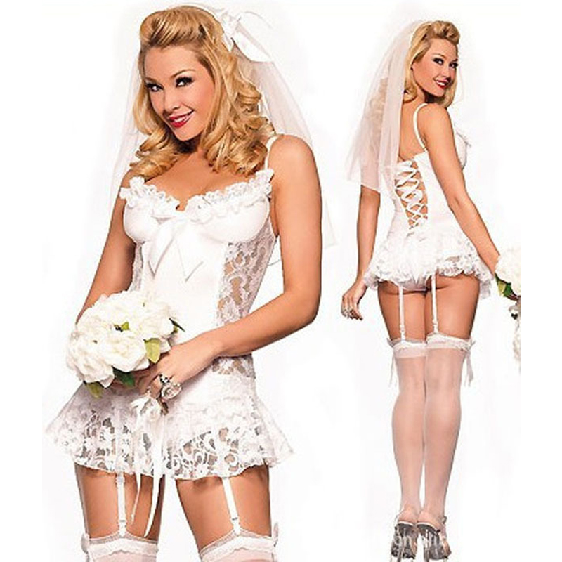 SY326 2016 White bridal Sexy lingerie hot + garter + T pants + Hair accessories cosplay erotic lingerie sexy costumes for women(China (Mainland))