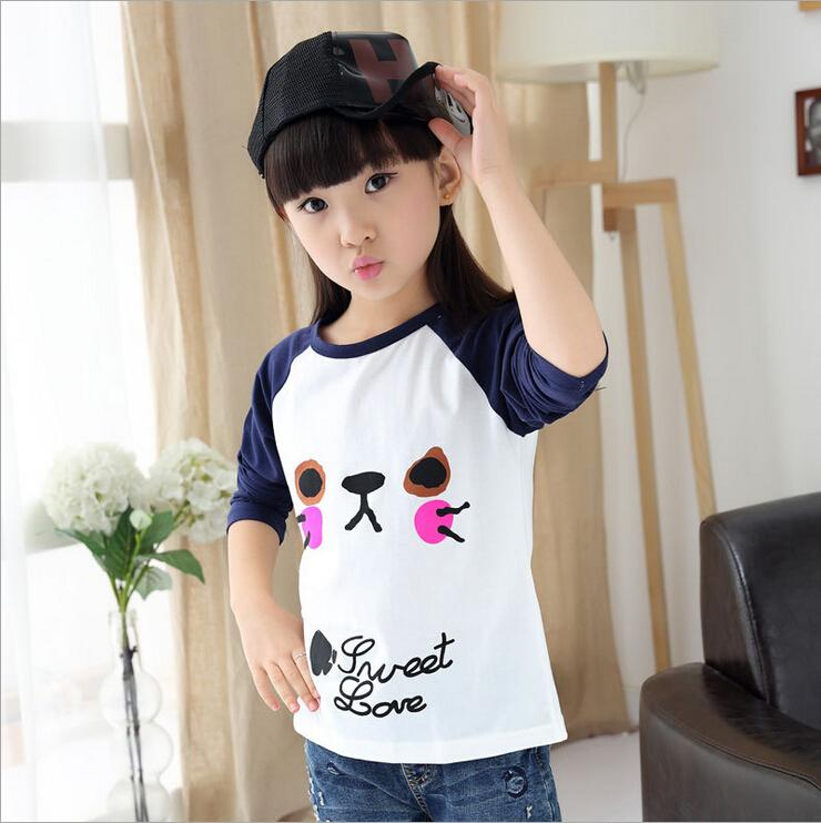 Autumn children's new 2015 kid girl t-shirts big child long sleeve T-shirt Pure cotton printed cartoon cat face girl's blouse(China (Mainland))