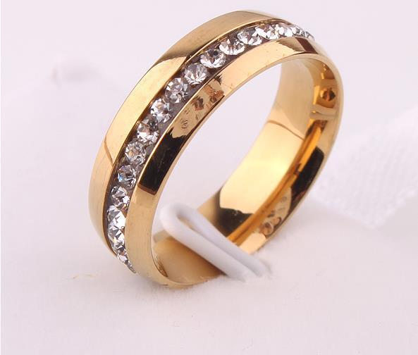 Full drill 18 k Mosaic gold plated ring tide female buddhist monastic discipline titanium steel ring