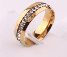 Full drill 18 k Mosaic gold plated ring tide female buddhist monastic discipline titanium steel ring ring couples