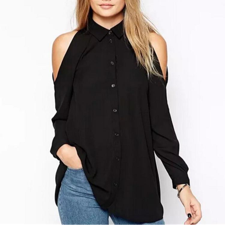 Women off shoulder long shirts sexy chiffon tops turn down collar Blusas Femininas long sleeve casual plus size(China (Mainland))