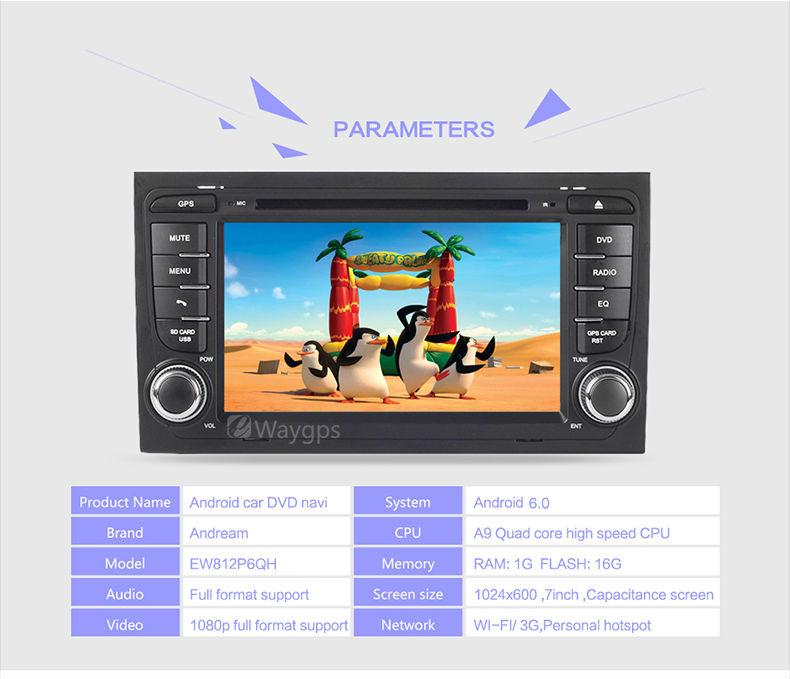 AUDI A3 A4 TT 2003-12 Android 6.0 Quad Core Car DVD Player Stereo Bluetooth gps Wifi Navigation EW814P6QH