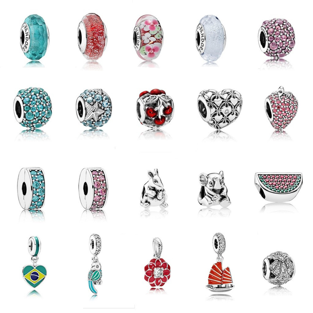 2016 Summer Collection Authentic 100% 925 Sterling Silver Charm Fits European Pandora Bracelet Original Charms Bead DIY Jewelry.(China (Mainland))