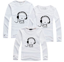 1 pc Music Long Tee Shirts 100% Cotton Family Couple T Shirt Cartoon Women Men Plus Size Kid Mother Good Quality Long T-Shirts