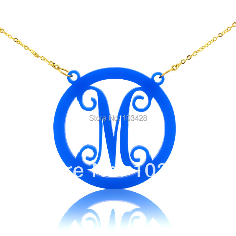Acrylic circle monogram name necklace with one letter for Acrylic letter necklace