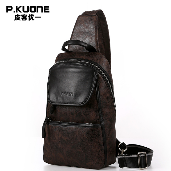 P.KUONE 2017 Best Seller New Fashion Genuine Leather Chest Pack Men Messenger Bag Luxury Handbag Famous Brands Travel Handbag(China (Mainland))