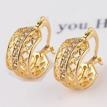 2014 Hot Selling Leaf Shape New Jewelry 18k Gold Plated Austrian Crystal Earrings For Women Party Daily Wear Jewelry Accessories(China (Mainland))
