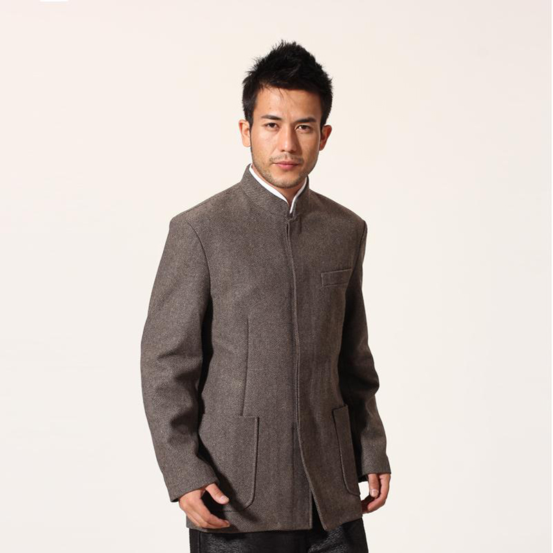 Light Gray Chinese Men Tunic Suit Top Winter New Thick Warm Wool Jacket Kung Fu Coat With Pocket Size M L XL XXL XXXL MN053Одежда и ак�е��уары<br><br><br>Aliexpress