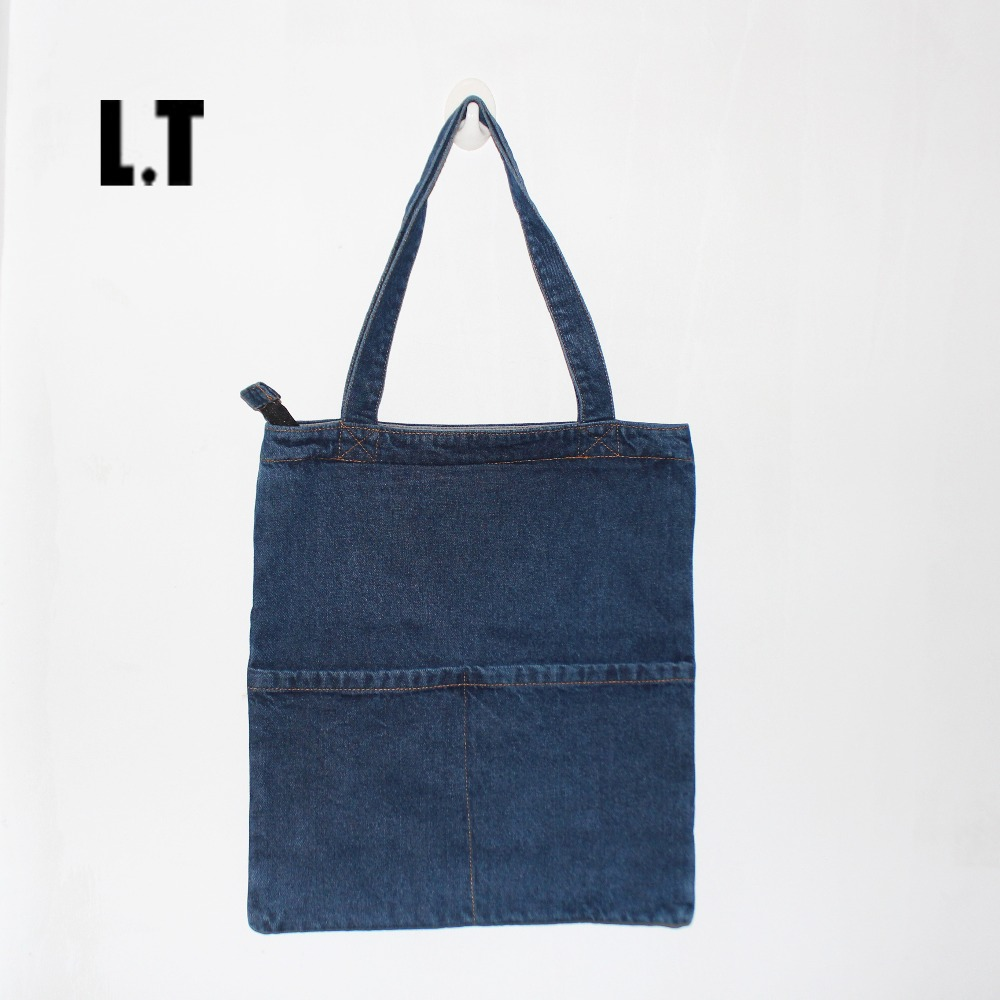 Women Denim Tote Bag Casual Blue Fabric Plain Jean Top Handle Front Pocket Shopping Book Teacher Nurse Organizer Shoulder Bag(China (Mainland))