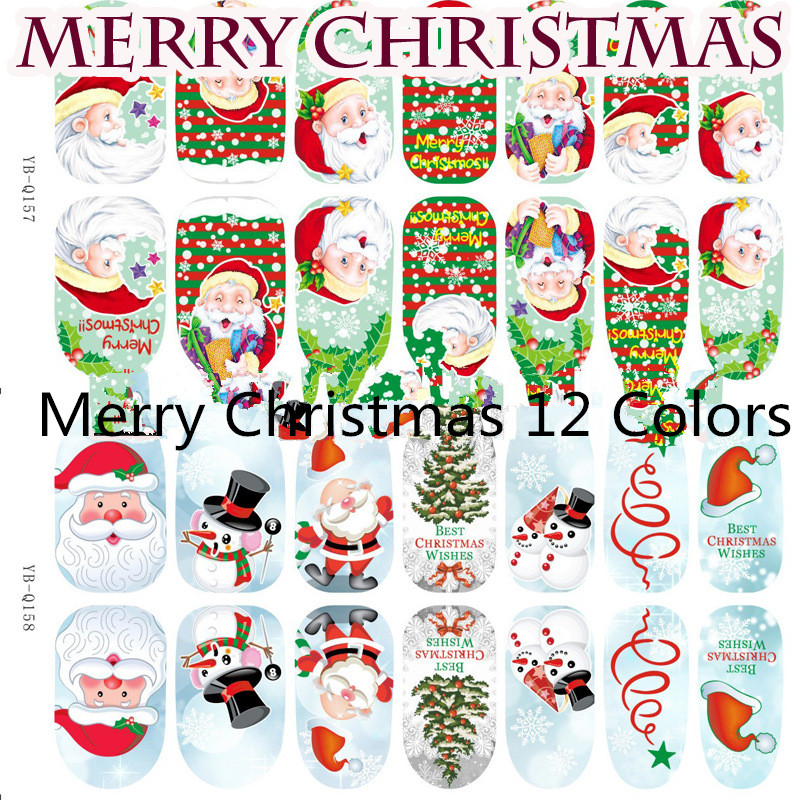 1 Sheet 3 D Merry Christmas Nail Art Water Decals Transfer Stickers Splendid Water Decals Sticker(China (Mainland))