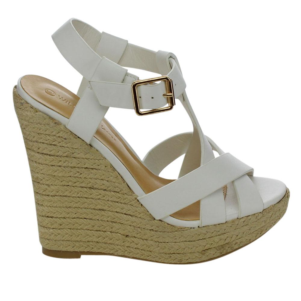 Women Faux Leather Crisscross T-strap Espadrille Platform Wedge Sandals(China (Mainland))