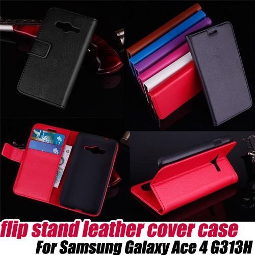 10pcs/lot.Leather Wallet Card Holder Flip Case Cover stand for Samsung Galaxy Ace 4 G313H,free shipping