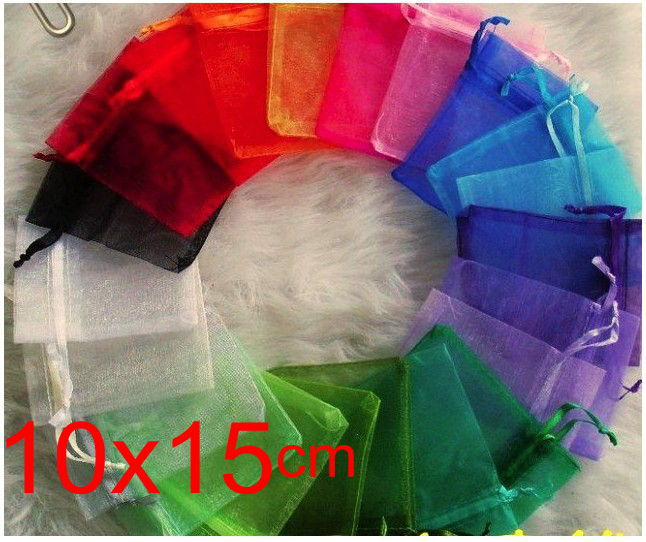 OMH wholesale 50pcs 10x15cm 10color mix chinese Christmas Wedding voile gift bag Organza Bags Jewlery packing Gift Pouches BZ09(China (Mainland))