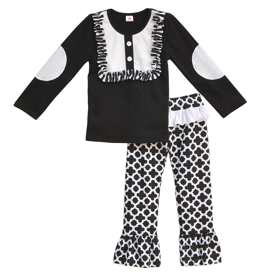 Mustard Pie Kids Fall Winter Full Sleeve Outfits Solid Black Embroidery Sleeves Ruffle Cotton Pants sets For Toddler Girls CO028