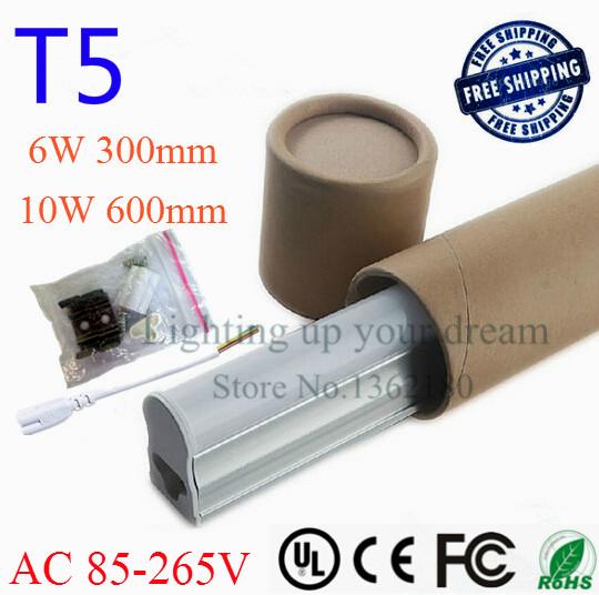 Super Brightness T5 Led Tube Light 300mm 600mm Integrated 0.3m 6W / 0.6m 10W Tube Lamp Fluorescent light Tubes 110V 240V 220V(China (Mainland))