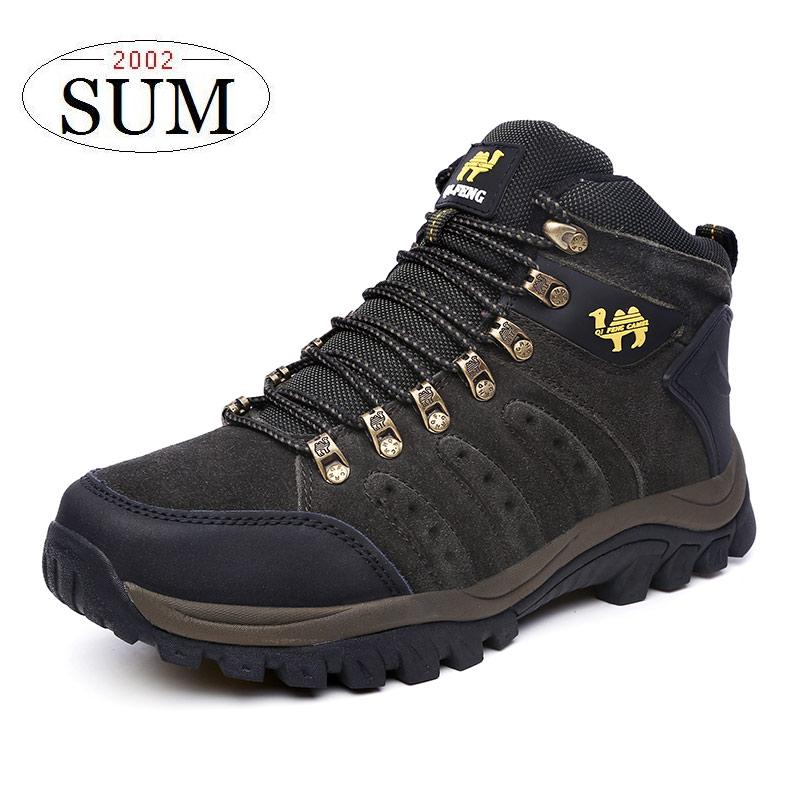 Fashion men climbing boots fur leather outdoor waterproof shoes boots Wear resistant breathable hiking sport shoes DH557<br><br>Aliexpress