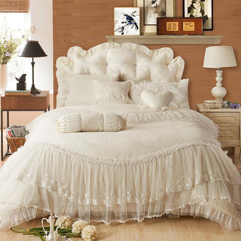 Luxury Lace Edge Princess Cream Colored Wedding Bedding